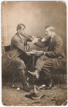 On the odd occasion whilst searching for the vintage romantic, artistic and pornographic portrayals of Victorian or Edwardian gentlemen, I happen across photographs which are instead quite, quite bizarre. I'm at a loss to even hazard a guess why this pair of smart fellows decided on this rather strange pose of most affectionate mutual murder, but it's well worth passing around for the curiosity value alone! Also, buttoned boots and buckled leather gaiters. I approve of your ...