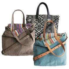 Reversible Pattern Shopper Bag With Leather Handles