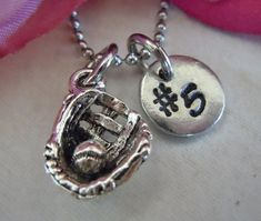 Personalized Baseball glove charm necklace by StampedOneOfAKind2, $19.75