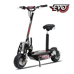 Big Toys Evo 1000 Watt Electric Scooter. Evo-1000 Features: Product Type: -Electric scooter. Gender: -Boy. Color: -Black. Age Group: -13+ Years. Number of Wheels: -2. Generic Specifications: -Charger Included: Yes. -Seat Included: Yes, Quick Release. -Drive System: Chain. -Motor: 1000 Watt. Generic Dimensions: -42″ H x 44″ W, 79 lbs .