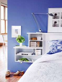 Wall-Mount Bedside Shelf Get that nightstand off the floor. Mount a shelf on the wall, as shown here, or integrate it into your headboard. Home Bedroom, Master Bedroom, Bedroom Decor, Bedrooms, Diy Storage Projects, Storage Ideas, Storage Boxes, Storage Baskets, Bedside Shelf