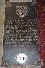 Thomas More's head rests here, in St. Dunstan's in Canturbury