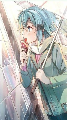 Sinon///In the rain. Art not mine. Sinon Ggo, Kirito, Anime Girl Cute, Anime Love, Sao Fanart, Otaku, Asada Shino, Sword Art Online Wallpaper, Character Wallpaper