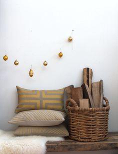 Decorative pillow cover Doha hand printed in metallic gold on dark taupe hemp