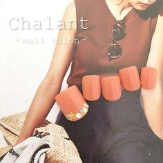 ネイル 画像 Chalant 吉祥寺 1668930 オレンジ ブラウン その他 シンプル スターフィッシュ シェル ワンカラー 夏 海 浴衣 リゾート ソフトジェル フット ショート