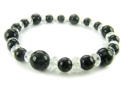 BB0724 Onyx Clear Quartz Natural Crystal Gemstone Stretch Bracelet - See more at: http://waggashop.com/wagga-shop-bb0724-onyx-clear-quartz-natural-crystal-gemstone-stretch-bracelet