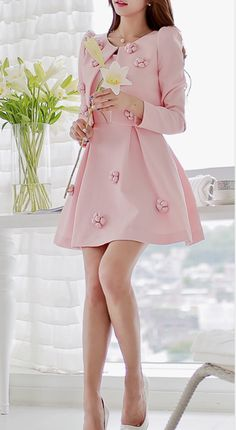 Pink Outfits, Classy Outfits, Skirt Outfits, Cute Outfits, Cute Fashion, Asian Fashion, Girl Fashion, Frock Fashion, Fashion Dresses