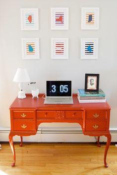 loving the fresh new paint job Orange Furniture, Colorful Furniture, Painted Furniture, Gloss Spray Paint, Antique Desk, Toy Rooms, Desk Ideas, Desks, Project Ideas