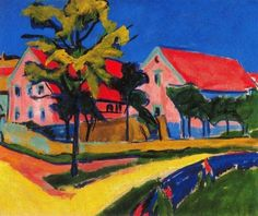 Ernst Ludwig Kirchner - Red House - Die Brucke - Oil on canvas
