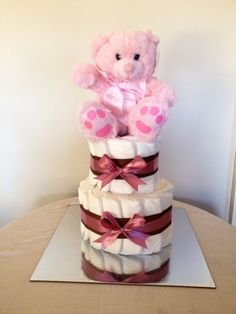 Baby Girl Nappy Cake by HolliesNappyCakes on Etsy Nappy Cakes, Trending Outfits, Handmade Gifts, Baby, Kid Craft Gifts, Craft Gifts, Baby Humor, Diy Gifts, Infant