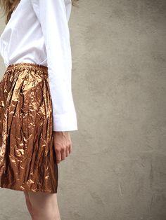 metallic copper skirt #style #fashion