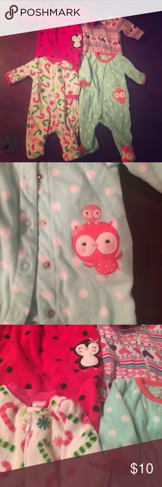 Baby girl newborn fleece pj lot G4 Too cute to pass up and priced JUST RIGHT! Soft and warm for your new love💁🏼👶🏼💗💤. MIXED LOT MIXED BRANDS SEE PICS carters Pajamas Pajama Sets