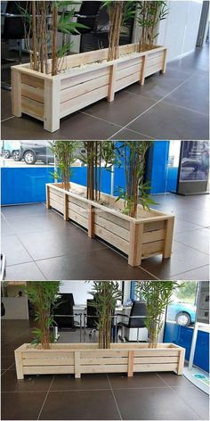 Clever DIY Wood Pallet Projects That Are Easy to Copy This is much an amazingly unique and innovative looking wood pallet creation for your garden. This planter creation is somehow giving out the shaping effect stylishness. Its planks have been painted in Wooden Pallet Projects, Wooden Pallet Furniture, Project Projects, Rustic Furniture, Furniture Ideas, Diy Planter Box, Diy Planters, Wood Pallet Planters, Garden Planters