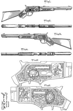 Modeled on a Winchester Deer Rifle, this toy cowboy rifle was designed by Mahlon Hirsch for toy maker Louis Marx and Company. This image is from a patent application filed in 1952.