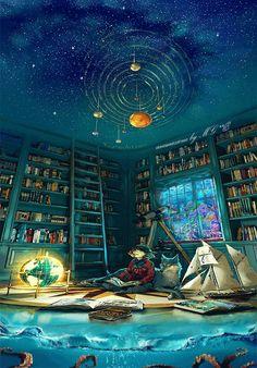 """Foto: """"Astrologa Marina"""" ho voluto creare un'animazione su di una immagine di Yuumei Art di una astrologa che abita sotto 2 leghe (3 miglia)di mare e mentre legge con il suo lupo, si notano il passaggio di pesci e squalo dietro la finestra e poi le stelle ma non quelle marine...! il mare che si avvicina sino ai libri e il globo che rappresenta la terra che lampeggia in allarme per evidenziare di come viene maltrattata dall'uomo. Buon pomeriggio a tutti #arteinmovimento Æ14/08/2016"""