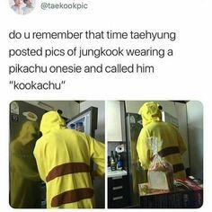 "Do u rememberthat time taehyung posted pics of jungkook wearing a pikachu onesie and called him ""kookachu"" - iFunny :) Taehyung, Bts Namjoon, Kookie Bts, Bts Bangtan Boy, Bts Boys, Bts Memes Hilarious, Bts Funny Videos, Namjin, Taekook"