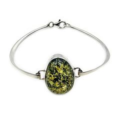 Gorgeous Sterling Silver Natural Green Baltic Amber Cuff Bracelet  Price : $125.95 http://www.silverplazajewelry.com/Gorgeous-Sterling-Silver-Natural-Bracelet/dp/B00NITN0HA