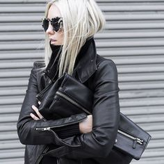 All black everything. Gorgeous black leather jacket via @figtny #MyAritzia | Aritzia