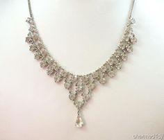 "Vintage Clear Rhinestone Bib Collar Necklace 14.75""L Open Back Prong Set #Unbranded #Collar"