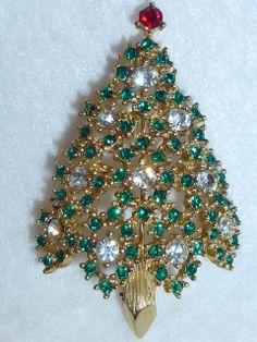 Vintage Eisenberg Christmas Tree Brooch Pin by GoodysFromThePast, $75.00
