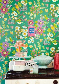Behang Eijffinger Rice 359073 bloemen en vogels