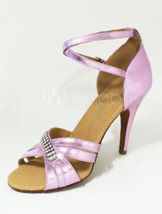 Chaussures latines brillant élégant Open Toe Stiletto talon cheville sangle PU cuir femme - Milanoo.com