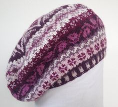 Items similar to Fairisle beret hand knitted in pure wool/wool blend on Etsy Fair Isle Knitting Patterns, Fair Isle Pattern, Lace Knitting, Knit Crochet, Fingering Yarn, Beret, Knitting Projects, Knitted Hats, Pure Products