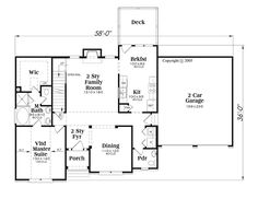 1721 sq ft First Floor Plan of House Plan 72604