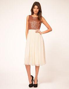 Image 1 ofTFNC Midi Dress With Sequin Bodice