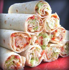 BLT WRAPS: 1 C mayonnaise,  1/2 C dried tomatoes in oil,  8 (10-inch) flour tortillas,  1 lrg head iceberg lettuce,  1 med onion,  16 bacon slices,  1 tsp salt,  1 tsp pepper