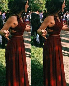 Long Custom Prom Dress,Simple Long Prom Dresses, Cheap Chiffon Prom Dress, Burgundy Prom Dress, Two on Luulla Two Piece Formal Dresses, Prom Dresses Two Piece, Formal Dresses For Teens, A Line Prom Dresses, Two Piece Dress, Cheap Prom Dresses, Prom Party Dresses, Evening Dresses, Prom Gowns