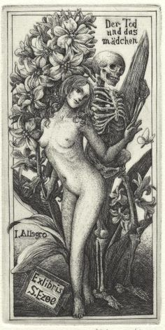 Death and the maiden Ex Libris for S.Ezoe [also by Inoue and one more from the same series here] from Japan Ex Libris