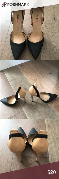 High heel shoes Black and Tan high heel shoes, size 8. Like new, only worn one time. JustFab Shoes Heels