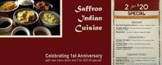 Saffron Indian Cuisine (Mansfield).  Best Indian food restaurant nearby.