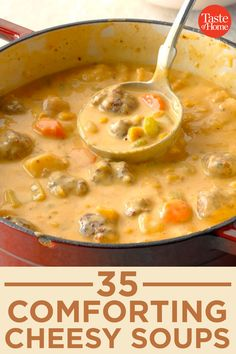 35 Comforting Cheesy Soups Snuggle up with a bowl of velvety cheese soup. Crockpot Recipes, Cooking Recipes, Oven Recipes, Cheesy Cauliflower Soup, Soup Kitchen, Hot Soup, Slow Cooker Soup, Soup And Sandwich, Soup And Salad