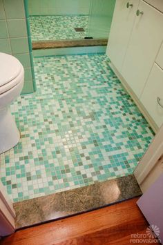 A mud set bathroom remodel, for the mid century bathroom. With lots of glorious turquoise tile. Click through to see all the pictures of the finished bathroom...