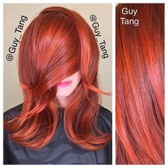 While the world hate on warm and orange tones! I am gonna embrace it! My client Lizzie beauty editor for Beauty Launchpad gets the copper flame! I am all about reds! Base with #redken 7go 7gc 7cc 10vol highlights using hi fusion RC O 20vol that orange copper red is my fave #guytang #balayage