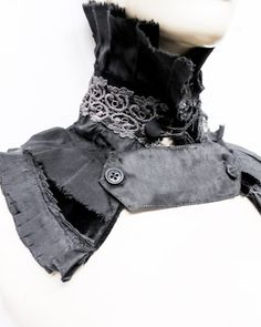 fantastic distressed upcycled fabric Goth Collar | GIBBOUS Fashion ♥