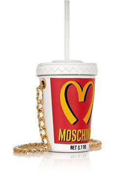 Milkshake embroidered leather shoulder bag, Moschino