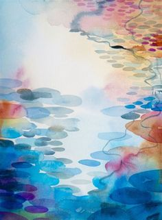 ARTFINDER: The Peaceful Pond by Helen Wells - This painting is called The peaceful Pond. A abstracted watercolour painting of an ornamental pond in St Leonards on Sea. The piece describes the reflections...