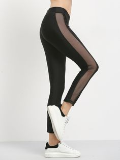 Black Patchwork Perspective Sports Pants Mobile Site
