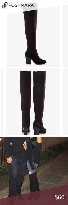 Black Thigh High faux Suede Express heeled Boots Faux suede material, thigh high Express boots with heel. Great condition! Worn only a few times.  Very slight scuffs as shown in photos. Barely noticeable in reality. Shoes Over the Knee Boots
