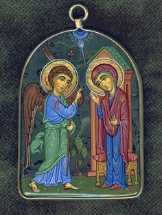 Like many of the first generation to rediscover the icon in the century, Amiran Goglidze learned iconography by restoring churches. He finished art school (painting college of I. Byzantine Icons, Byzantine Art, Religious Icons, Religious Art, The Annunciation Painting, School Painting, Archangel Gabriel, Infancy, Orthodox Icons