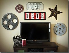 Movie Themed Room Decor | Film reel wall collage by Sew Dang Cute Crafts.