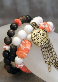 3-piece Stacker Diffuser Locket Bracelet Set made with Wood and Bone Beads in Coral and Cream tones