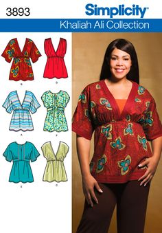 Misses or Plus Size Shirt sewing pattern 3893 Simplicity.