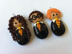 3 Harry Potter Clay Charms by elsclaycharms on Etsy