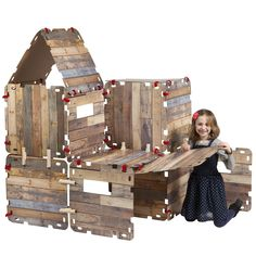 Fantasy Fort Kit Creative Pretend Play Construction Building Set for Kids - Indoor Playhouse - Heavy Duty Cardboard Carton Faux Wood Panels - Velcro Connectors - Each Panel 22 X Kids Indoor Playhouse, Build A Playhouse, Fort Kit, Cardboard Cartons, Toy Store, Wood Paneling, Play Houses, Suncatchers, Cool Gifts
