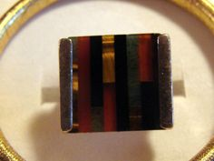 Vintage Silver and Glass Ring Made in Isreal by AntiqueAlchemists, $35.00