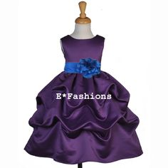 blue and purple wedding | Plum Purple Royal Blue Wedding Bridal Flower Girl Dress 6 9M 12 18M 2 ...